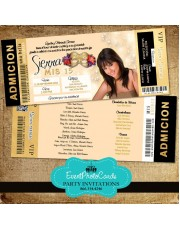 Gold Masquerade Ticket Invitations