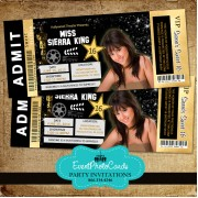 Gold Hollywood Ticket Invitations - Sweet 16