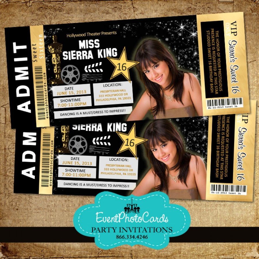 gold hollywood ticket invitations sweet 16