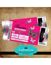 Ticket Quinceanera Invitations - Butterflies