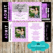 Lilac Light Purple  Invitations - Sweet Fifteen Quinceanera