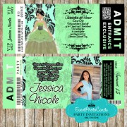 Lime Green  Sweet Fifteen Birthday Party Ticket Quinceanera