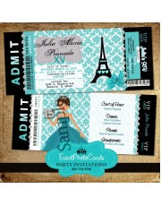 Paris Eiffel Tower Invitations -Teal