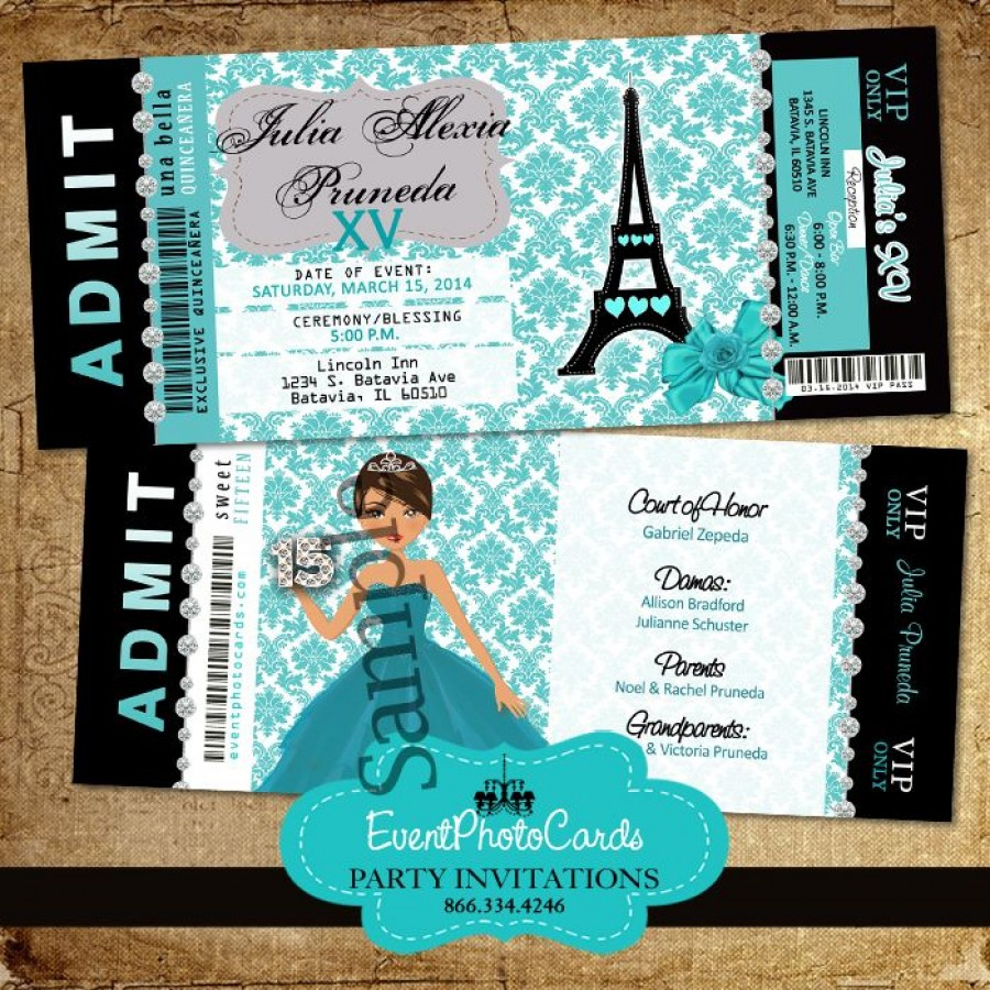 Teal Paris Eiffel Tower Invitations for Quinceanera or ...