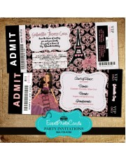 Paris Quinceanera Ticket Invitations