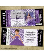 Quinceanera Purple Invitations  Damask