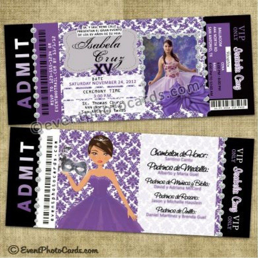Unique Ticket Invitations, Sweet 15 or Quince