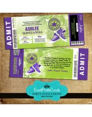 Converse Ticket Quinceanera  Invitations - Purple & Green