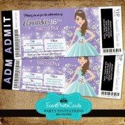 Purple and Light Blue Sweet 16th Invitations