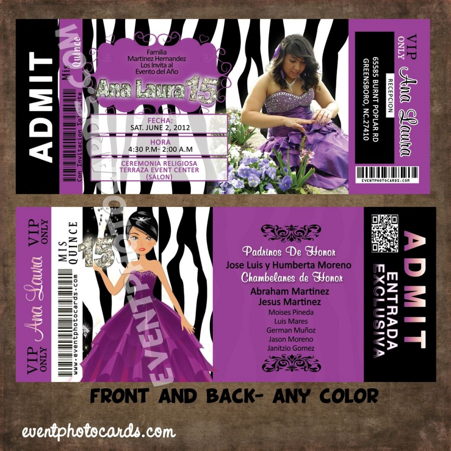 purple zebra quince invites  ticket