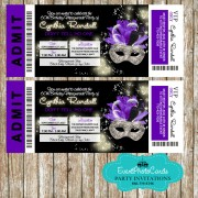 Roya Purple & Black Invitations Ticket - Masquerade