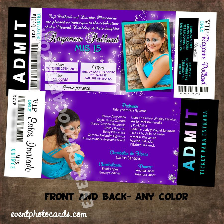 Quinceanera Ticket Invitations 2016, New Collections VIP Pass