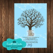 Tree Branches Baby Blue Invitations - 15