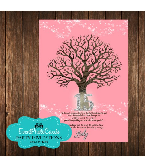 Tree Branches Coral Pink Invitations - Rosa Coral 15 Mis Quince Anos, XV Invitations