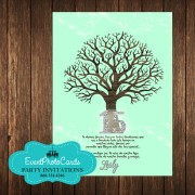Tree Branches Coral Mint Green Invitations - 15