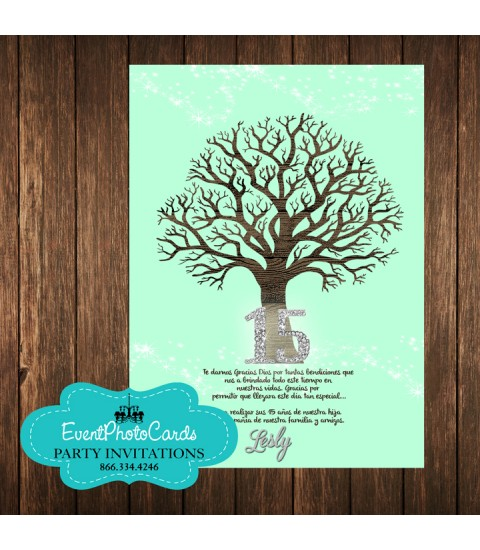 Tree Branches Mint Green  Invitations - Verde Mente 15 Mis Quince Anos, XV Invitations