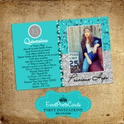 Teal Sweet 15 Photo Invites