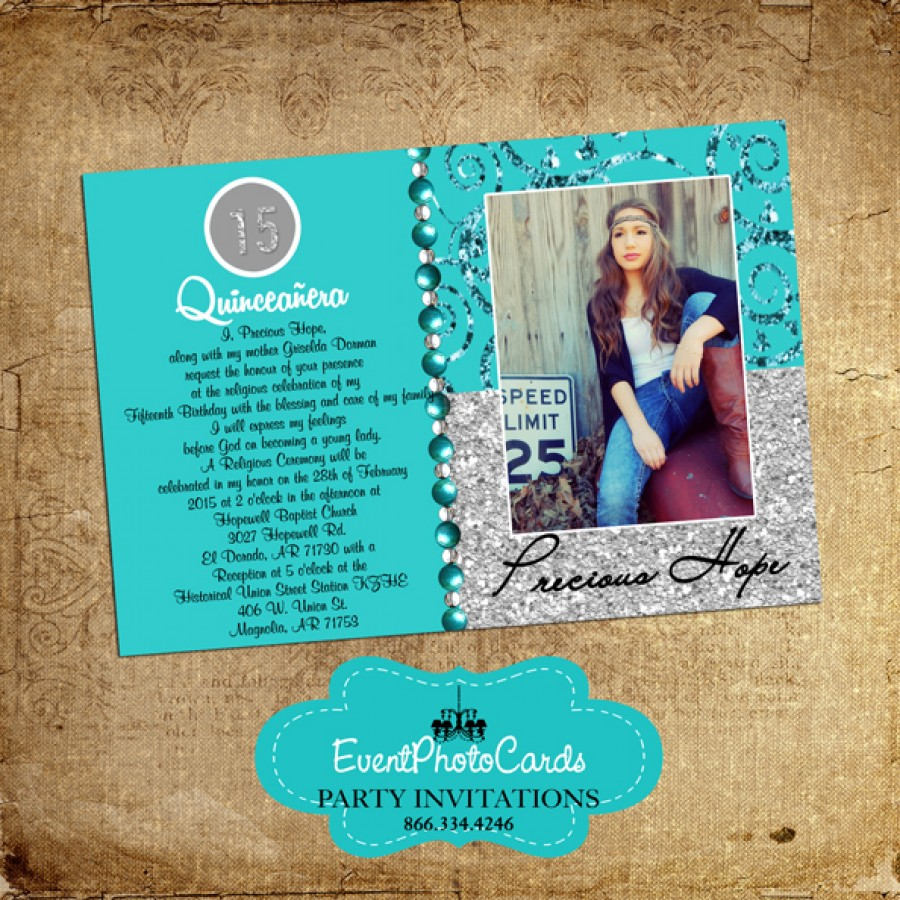 teal sweet 15 photo invites  glitter bling  mis xv anos