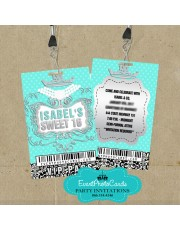 Tiffany Blue Vip Pass Invitations Quinceanera