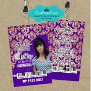 Quinceanera Invites Backstage Vip Pass Invitations _ Purple Gold