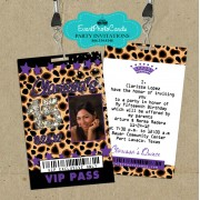 Cheetah Purple Quinceanera Vip Pass Invitations
