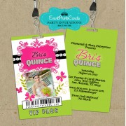 Pink & Green Quinceanera Vip Pass Backstage Invitations - Butterflies