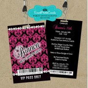 Black and Pink Quinceanera Backstage Pass Invitations