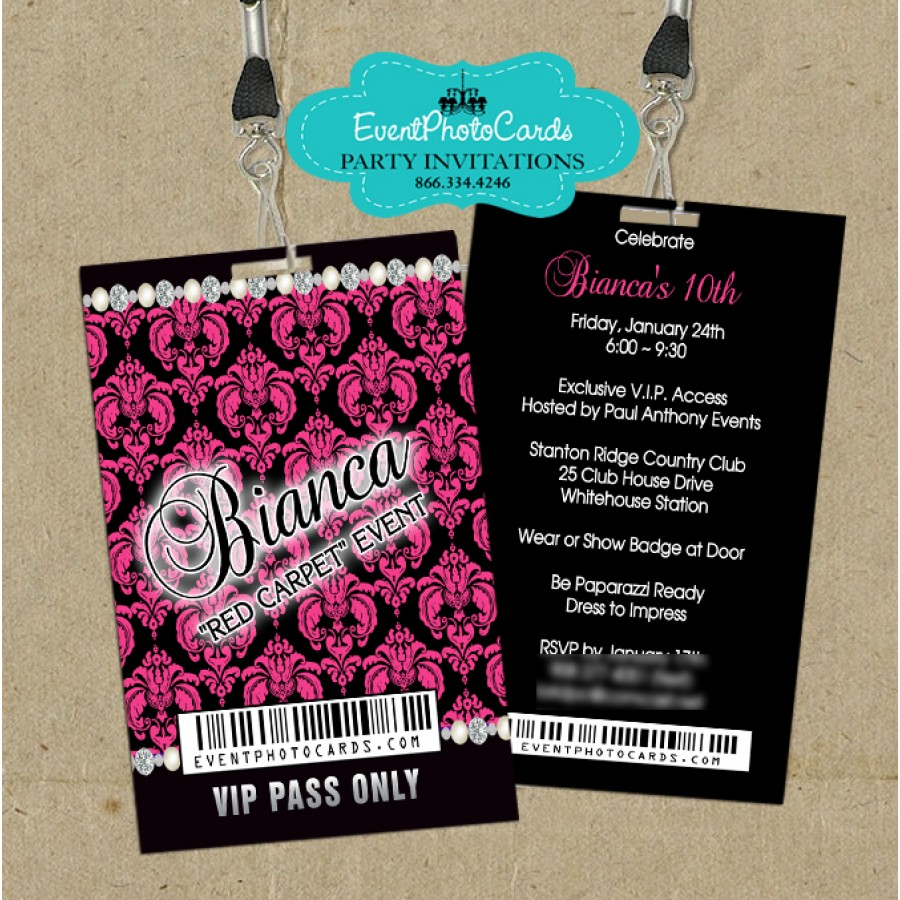 Vip Pass Invitations Quinceanera 15, Sweet 16
