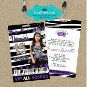 Purple & Zebra Quinceanera Vip Pass