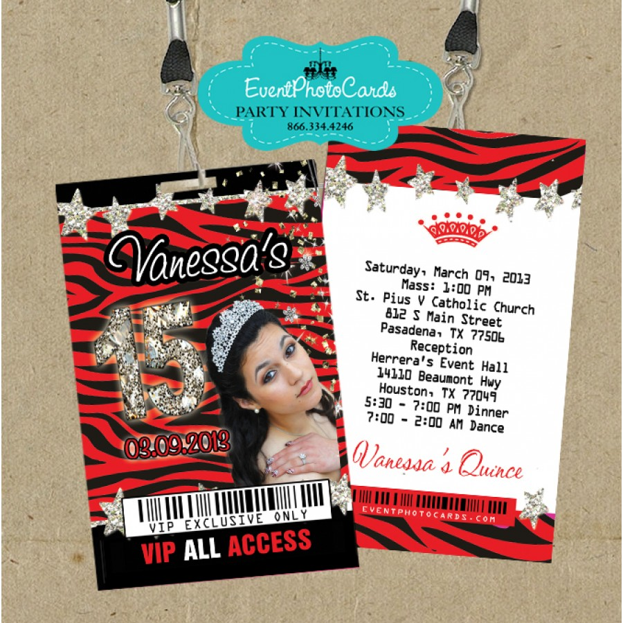 Zebra Red Vip Pass Invitations for Quinceanera or Sweet 16