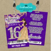 Purple Backstage Vip Pass Sweet 16 Invitations