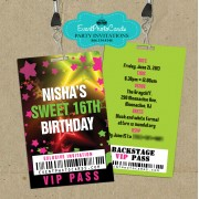 Glow Party Sweet 16 Vip Pass Invitations