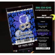 Black and Blue Damask Quinceanera Vip Pass