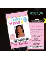 Candyland Pink Vip Pass  Sweet 15 Invitations