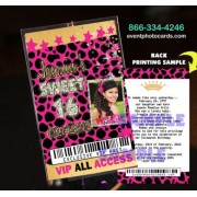 Hot Pink Cheetah Sweet 16 Vip Pass Invitations