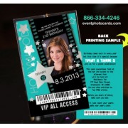 Hollywood Vip Pass Invitations - Teal
