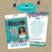 Glitter Aqua White Vip Pass Invitations