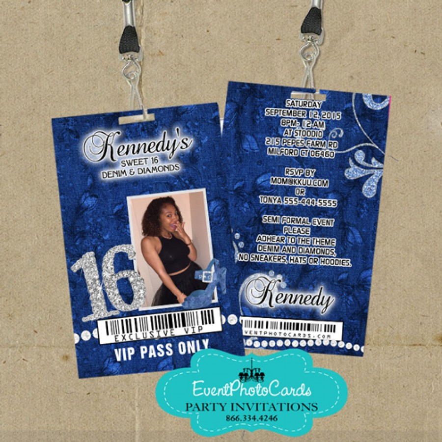 Blue Denim Vip Pass - Sweet 16 Invitations, Personalized ...