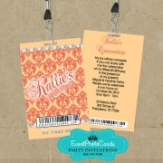 Coral & Gold Lanyard Pass Invite - Sweet 16