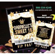 Gold & Black Sweet 16th Vip Pass Invitations