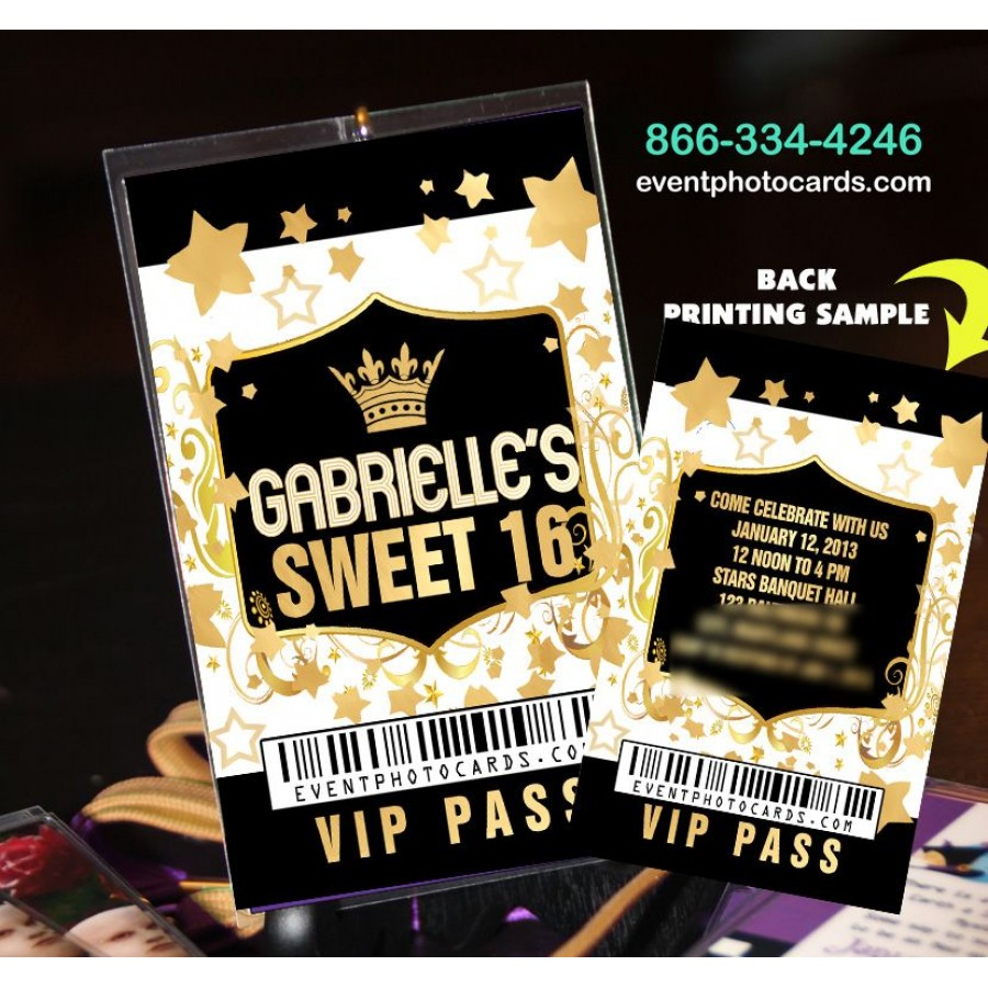 Gold Sweet Sixteen Vip Pass Invites