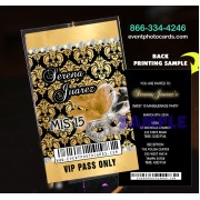 Gold & Black Sweet 15 Vip Pass Invitations