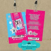 Pink & Aqua Hollywood Vip Pass Quinceanera Invitations