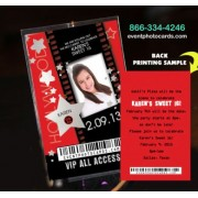Sweet 16 Hollywood Vip Pass Invitations
