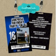 Grunge Male Blue Vip Pass Invitations