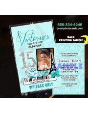 Teal Paris Eiffel Tower Vip Pass Quinceanera Invitations