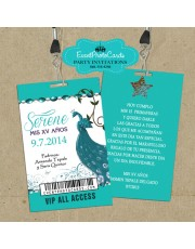 Peacock VIP Pass - Teal 15th Birthday Quinceanera