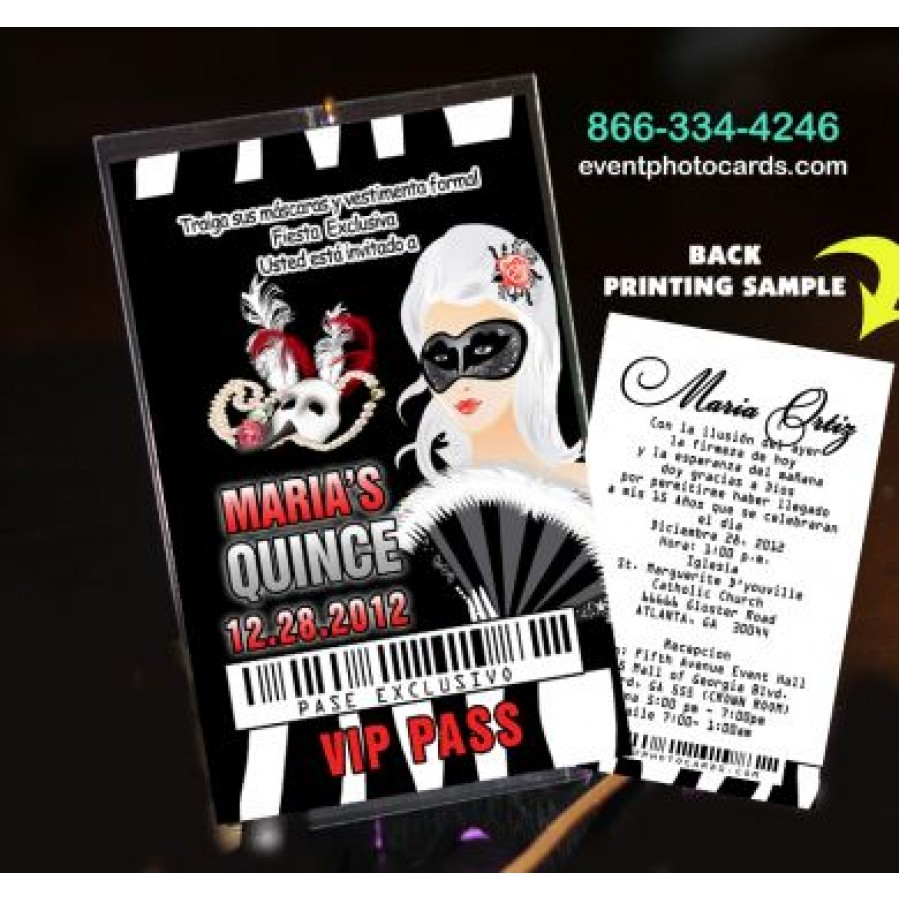 Top Phantom of the Opera Sweet 16 Vip Pass Invitationsfor quinceanera  SX71