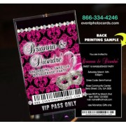 Pink & Black Sweet 16 Invites Backstage Vip Pass Invitations