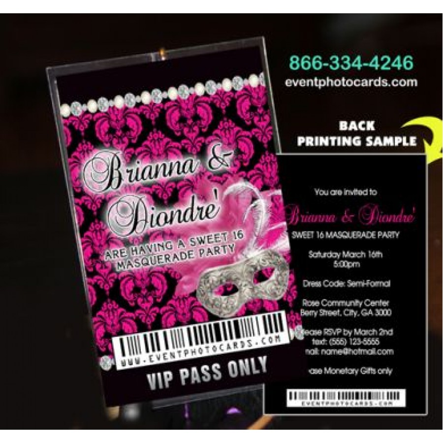 Hot Pink & Black Sweet Sixteen Vip Pass invitations with ...
